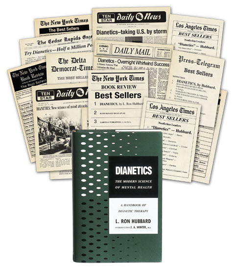 First Edition of Dianetics: The Modern Science of Mental Health with newspaper articles
